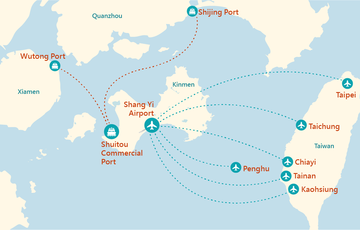 Kinmen airline route map